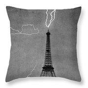 Lightning Strikes Eiffel Tower, 1902 Throw Pillow