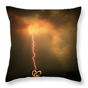 Lightning Strikes The Heart Throw Pillow