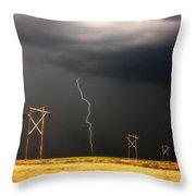 Lightning Striking Behind Saskatchewan Power Line Throw Pillow