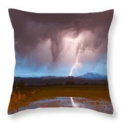 Lightning Striking Longs Peak Foothills 3 Throw Pillow