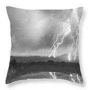 Lightning Striking Longs Peak Foothills 4bw Throw Pillow