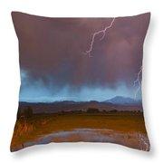 Lightning Striking Longs Peak Foothills 5 Throw Pillow