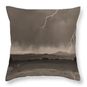 Lightning Striking Longs Peak Foothills 5bw Sepia Throw Pillow