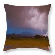 Lightning Striking Longs Peak Foothills 8 Throw Pillow