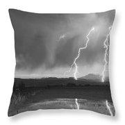 Lightning Striking Longs Peak Foothills Bw Throw Pillow