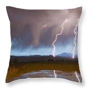 Lightning Striking Longs Peak Foothills Throw Pillow
