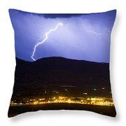 Lightning Striking Over Ibm Boulder Co 1 Throw Pillow