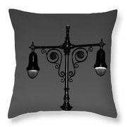 Lights Of Coney Island In Black And White Throw Pillow