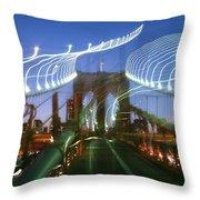 Lightwriting Brooklyn Bridge Throw Pillow