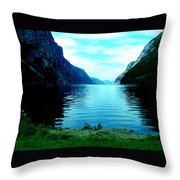 Ligth Fjord Norway Throw Pillow