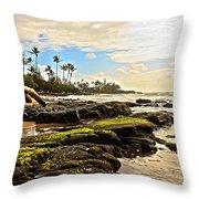 Lihue Rocky Coast Throw Pillow