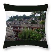 Lijiang Rooftops Throw Pillow