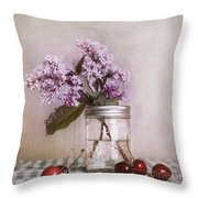 Lilac And Cherries Throw Pillow