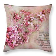 Lilacs With Verse Throw Pillow