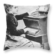 Lillian Sholes, The First Typist, 1872 Throw Pillow