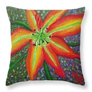 Lily In My Garden Throw Pillow