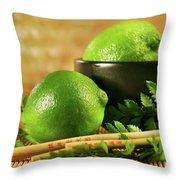Limes With Chopsticks Throw Pillow