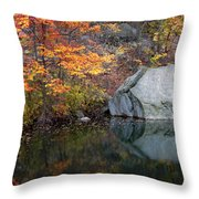 Lincoln Woods Autumn Boulders Throw Pillow
