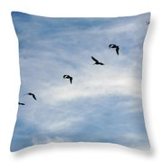Linear Flock Of Pelicans Throw Pillow