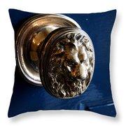 Lion Head Door Knob Throw Pillow