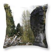 Lion Sculpture Throw Pillow