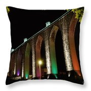 Lisbon Historic Aqueduct By Night Throw Pillow