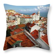 Lisbon Rooftops Throw Pillow by Carlos Caetano
