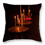 Lit Candles In A Church Throw Pillow