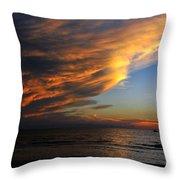 Little Boat Sunset Throw Pillow