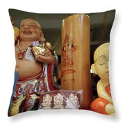 Little Buddhas In Silom In Bangkok In Thailand Throw Pillow