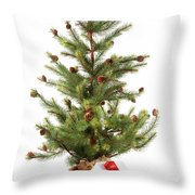 Little Christmas Tree With Red Ribboned Gifts On White  Throw Pillow by Sandra Cunningham