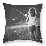 Little Fishing Girl Throw Pillow