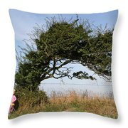 Little Girl And Wind-blown Tree Throw Pillow