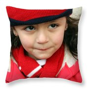 Little Girl In Red Throw Pillow
