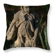 Little Girl Turned To Stone Throw Pillow