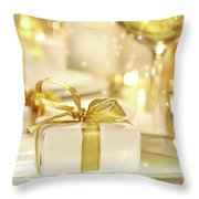 Little Gold Ribboned Gift Throw Pillow by Sandra Cunningham