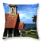 Little Green Church In Hawaii Throw Pillow