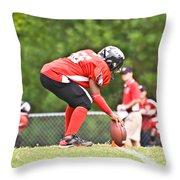 Little League Football Kickoff Throw Pillow