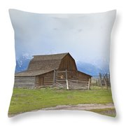 Little Mountain Barn Throw Pillow