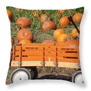 Little Orange Wagon Throw Pillow