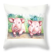 Little Piggies Throw Pillow
