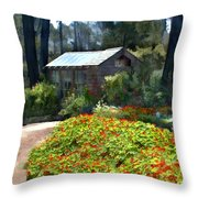 Little Rustic Cabin In A Clearing In The Woods Throw Pillow