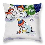 Little Snowmen Snowballing Throw Pillow