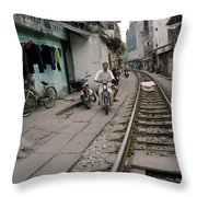 Living By The Tracks In Hanoi Throw Pillow