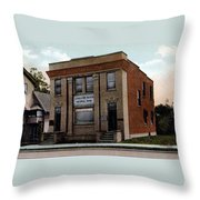 Livingston Manor Ny - National Bank Throw Pillow