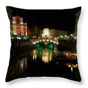 Ljubljana By Night Throw Pillow