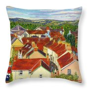 Painting Llandovery Roof Tops Throw Pillow
