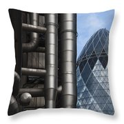 Lloyds Of London And The Gherkin Building Throw Pillow