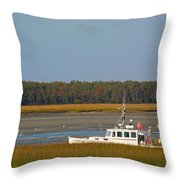 Lobster Boat Along Maine Throw Pillow