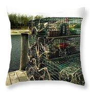 Lobster Pots Throw Pillow